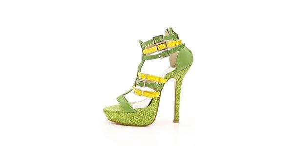 Dámské zeleno-žluté sandálky na jehlovém podpatku Boaime