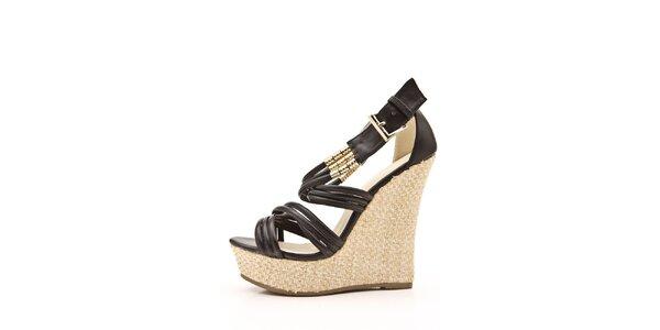 Dámské černé páskové sandálky na klínu Boaime