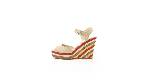 Dámské světle béžové kožené sandály s barevným jutovým klínem Boaime