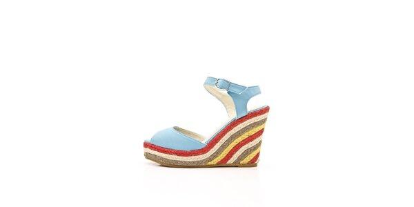 Dámské nebesky modré kožené sandály s barevným jutovým klínem Boaime