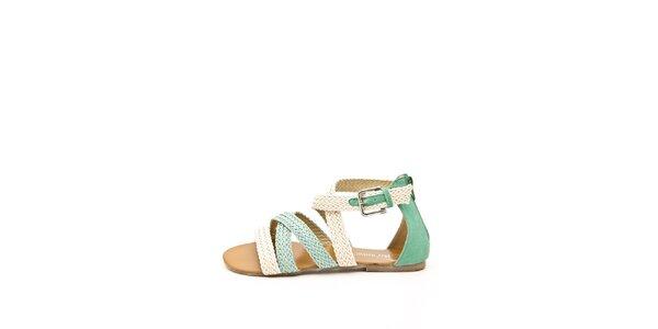 Dámské béžovo-zelené páskové sandálky Boaime
