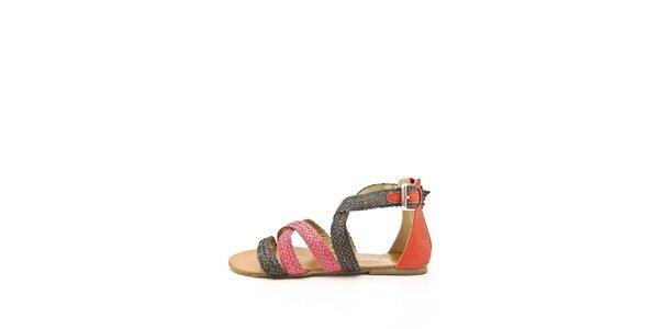 Dámské červeno-černé páskové sandálky Boaime