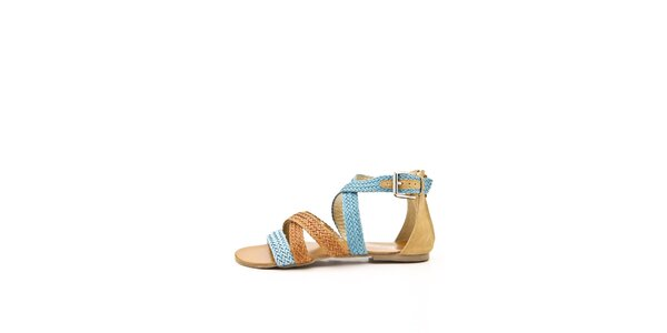 Dámské oranžovo-modré páskové sandálky Boaime