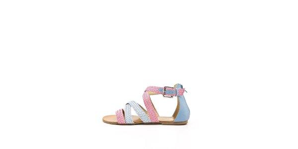 Dámské růžovo-modré páskové sandálky Boaime