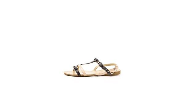 Dámské béžovo-černé sandálky s dvojitými pásky Boaime