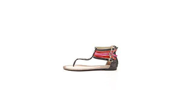 Dámské černo-červeno-fuchsiové sandálky s kamínky Boaime