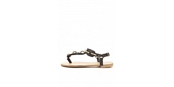 Dámské černé sandály Boaime se zlatou aplikací