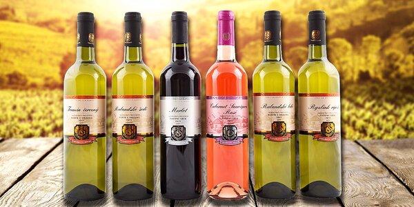 Set šesti mladých vín z vinařství Soviš