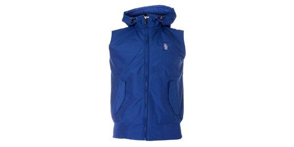 Pánská sytě modrá vesta Refrigue s kapucí