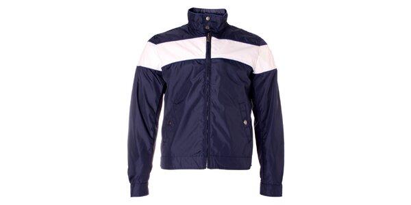 Pánská tmavě modrá bunda Refrigue s bílým pruhem