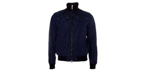 Pánská tmavě modrá bunda Refrigue s černými manžetami