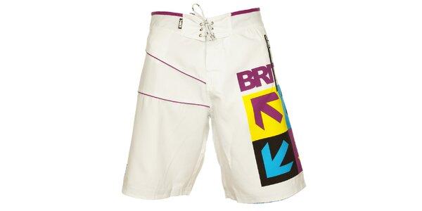 Pánské bílé koupací šortky British Knights s barevným vzorem