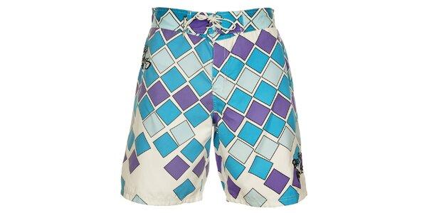 Pánské modro-fialové koupací šortky British Knights s delšími nohavičkami