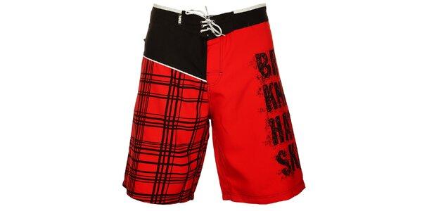 Pánské červeno-černé koupací šortky British Knights