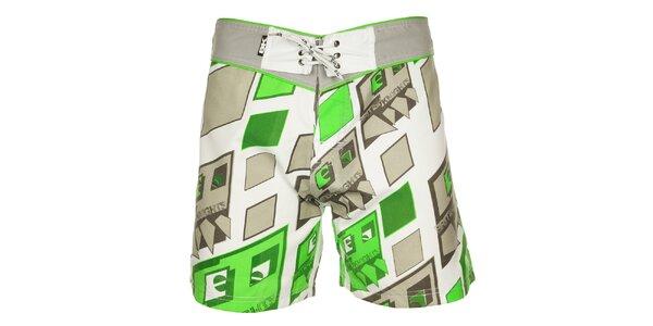 Pánské šedo-zelené koupací šortky British Knights s krátkými nohavičkami