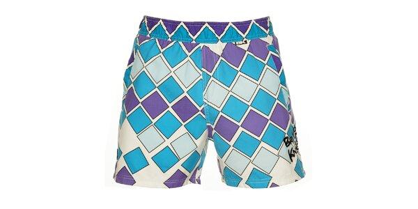 Pánské modro-fialové koupací šortky British Knights s krátkými nohavičkami