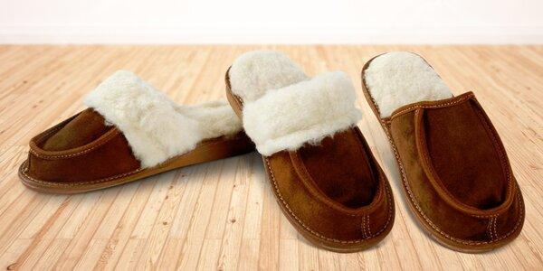 Kožené papuče s vlněnou výstelkou