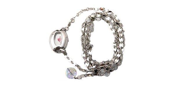 Dámske hodinky Mango s bílým ciferníkem a stříbrným ocelovým řemínkem, s…