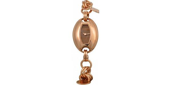Dámske hodinky Mango s hnědým ciferníkem a pozlaceným ocelovým řemínkem
