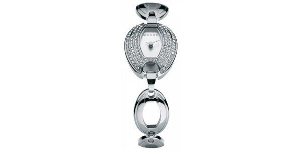 Dámske hodinky Mango s bílým ciferníkem, osazením skleněnými kamínky a…