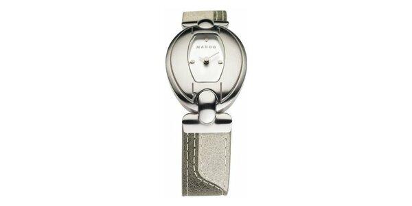 Dámske hodinky Mango s bílým ciferníkem a béžovým koženým řemínkem