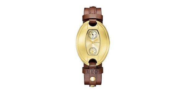 Dámske hodinky Mango se zlatým ciferníkem a hnědým koženým řemínkem
