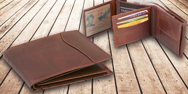 Hnědá pánská peněženka z pravé kůže