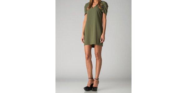 Dámské olivově zelené šaty By Zoé s korálky