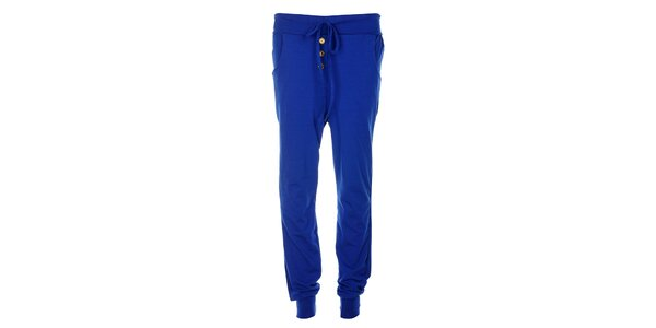 Dámské sytě modré bavlněné kalhoty Victoria Look se zlatými knoflíky