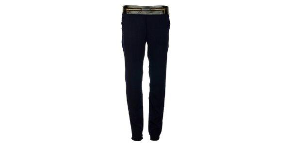 Dámské tmavě modré kalhoty Victoria Look se zlatými zipy