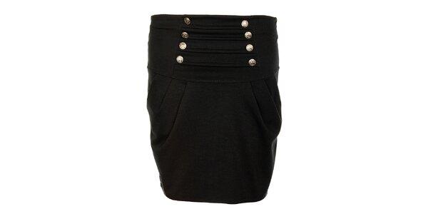 Dámská černá sukně Victoria Look s kovovými knoflíčky