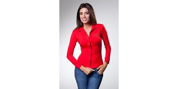 Dámský červený top Caniche s kamínky