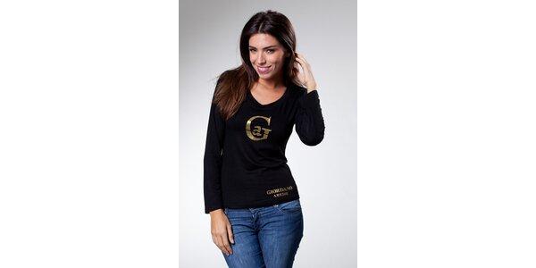 Dámské černé tričko Caniche se zlatým potiskem
