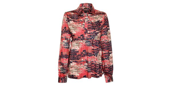 Dámská růžovo-modrá košile Freesoul s abstraktním vzorem