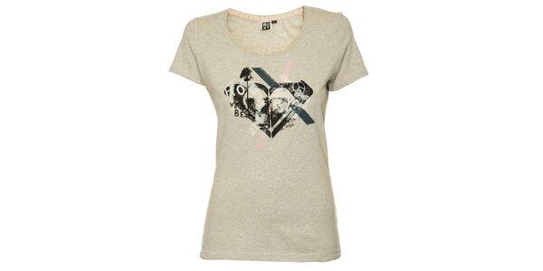 Dámské šedé tričko s originálním plážovým potiskem Roxy
