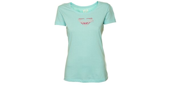 Dámské mátově zelené tričko s růžovým potiskem Roxy