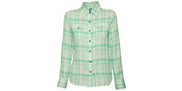 Dámská matové zelená kostkovaná košile Roxy