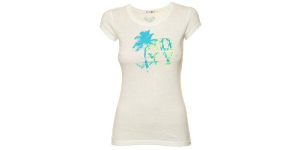 Dámské bílé tričko s modrou palmou Roxy