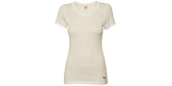 Dámské světlé melírované tričko s potiskem na zadní části Roxy