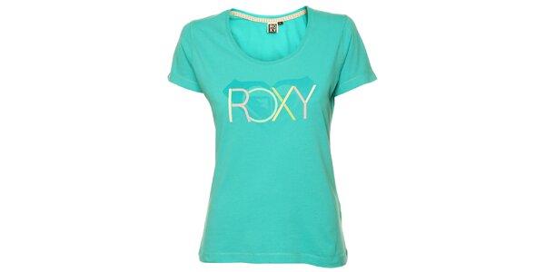 Dámské tyrkysové tričko s pastelovým potiskem Roxy