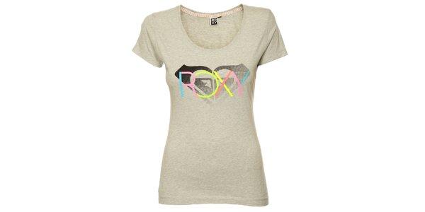 Dámské šedé tričko s pastelovým potiskem Roxy