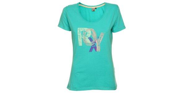 Dámské tyrkysové tričko s potiskem Roxy