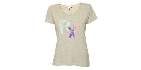Dámské světle šedé tričko s potiskem Roxy