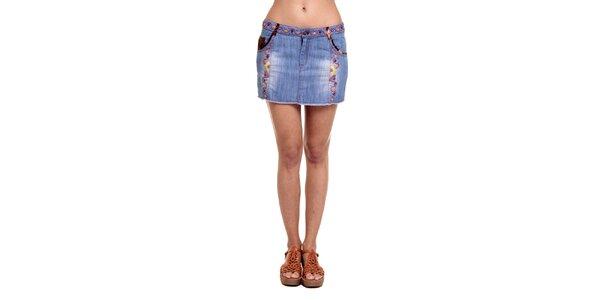 Dámská džínová sukně s vyšívaným vzorkem Kool
