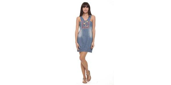 Dámské džínové šaty s výšivkami Kool