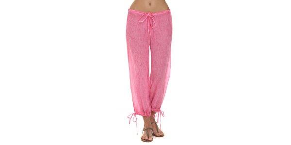 Dámské fuchsiové kalhoty s mašličkami Kool