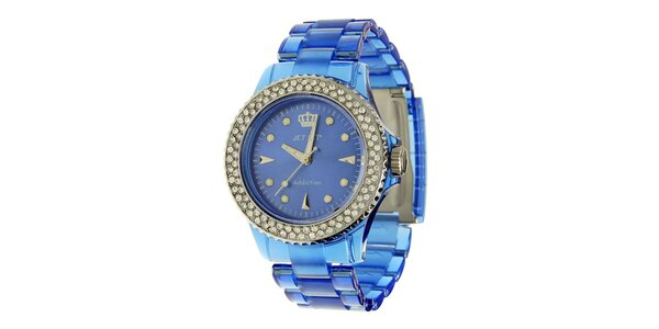 Dámské modré hodinky Jet Set s kamínky a transparentním řemínkem