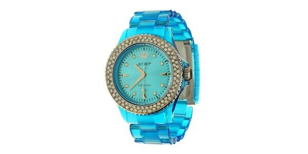 Dámské azurově modré hodinky Jet Set s kamínky a transparentním řemínkem