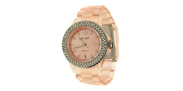 Dámské světle růžové hodinky Jet Set s kamínky a transparentním řemínkem
