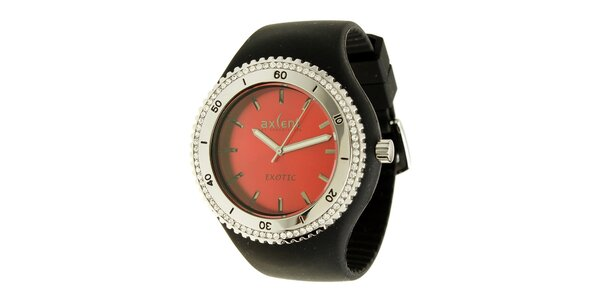 Dámské hodinky Axcent s černým pryžovým řemínkem a kamínky